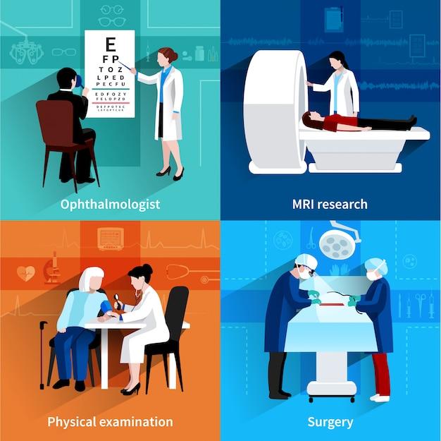 Specjaliści medyczni 4 płaskie ikony kwadratowe