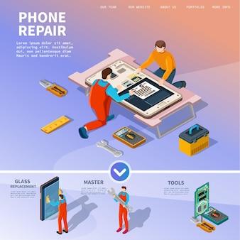 Specjaliści naprawiają smartfony i inny sprzęt, ilustracja.