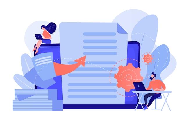 Specjaliści pracują z cyfrowymi danymi laptopów, malutcy ludzie. transformacja cyfrowa, rozwój rozwiązań cyfrowych, koncepcja rozwiązań w zakresie przepływu pracy bez dokumentów papierowych