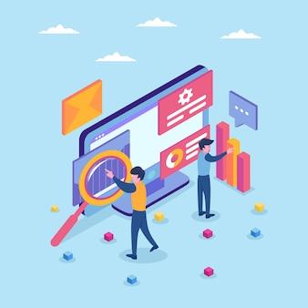 Specjaliści pracujący nad ilustracją cyfrowej strategii marketingowej