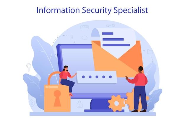 Specjalista ds. bezpieczeństwa cybernetycznego lub internetowego. idea cyfrowej ochrony i bezpieczeństwa danych. nowoczesna technologia i wirtualna przestępczość. informacje o ochronie w internecie. ilustracja wektorowa płaski