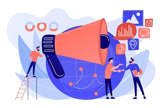 Specjalista ds. marketingu z głośnikami wpływa na biznesmenów i świat. makromarketing, wpływ społeczny, ilustracja koncepcji globalnej strategii marketingowej