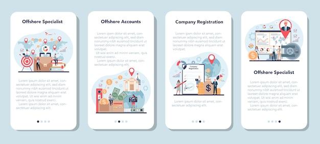 Specjalista offshore lub zestaw banerów aplikacji mobilnej firmy.