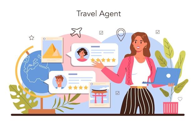 Specjalistyczna koncepcja turystyki. biuro podróży sprzedające bilety turystyczne, rejsowe, lotnicze lub kolejowe. agencja organizacji wakacji, rezerwacja hotelu i wniosek wizowy. płaska ilustracja wektorowa