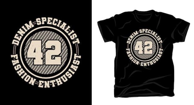 Specjalistyczny projekt koszulki czterdzieści dwa z typografią denimu