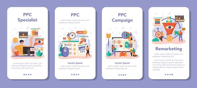 Specjalistyczny zestaw banerów aplikacji mobilnej ppc. pay per click manager, reklama kontekstowa i targetowanie w internecie. strategia marketingowa promocji biznesu. płaska ilustracja wektorowa