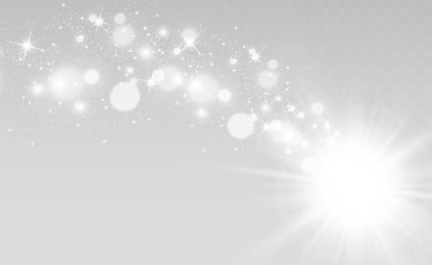 Specjalna lampa błyskowa, efekt świetlny. jasna piękna gwiazda. światło słoneczne. blask.