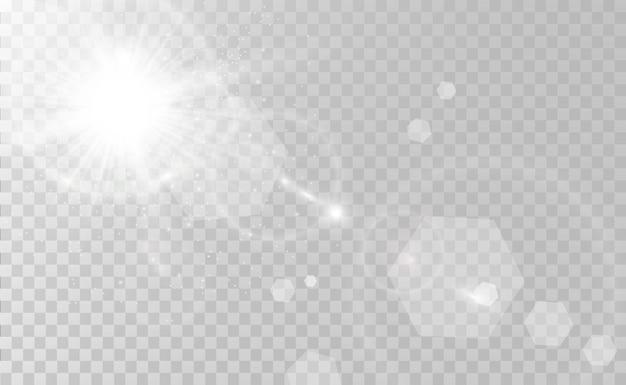 Specjalna lampa błyskowa, efekt świetlny. lampa błyskowa miga promieniami i reflektorem. ilust. białe świecące światło. piękna gwiazda światło z promieni. słońce jest podświetlone. jasna piękna gwiazda. światło słoneczne. blask.