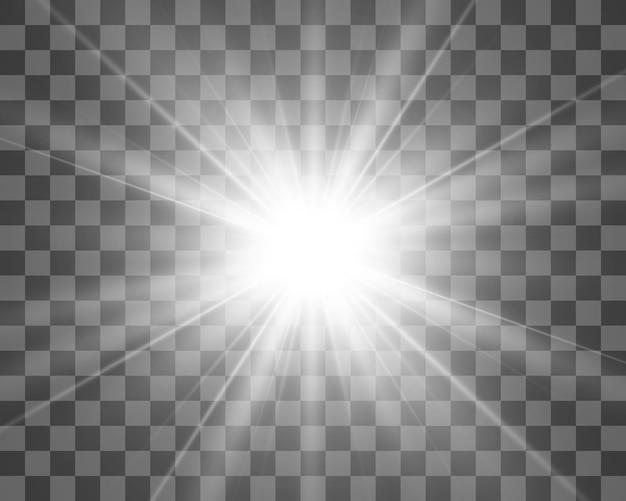 Specjalna lampa błyskowa, efekt świetlny. lampa błyskowa miga promieniami i reflektorem. ilust. białe świecące światło. piękne światło gwiazdy z promieni. słońce jest podświetlone. jasna piękna gwiazda. światło słoneczne. blask.