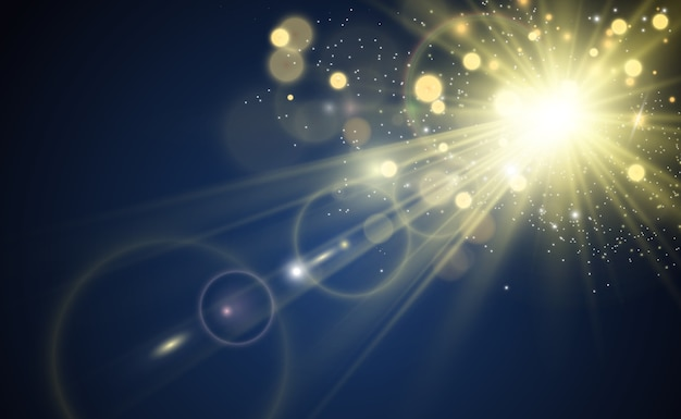 Specjalna Lampa Błyskowa, Efekt świetlny. Lampa Błyskowa Miga Promieniami I Reflektorem. Ilust. Białe świecące światło. Piękne światło Gwiazdy Z Promieni. Słońce Jest Podświetlone. Jasna Piękna Gwiazda. światło Słoneczne. Blask. Premium Wektorów