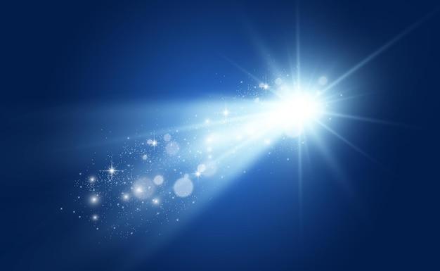 Specjalna lampa błyskowa, efekt świetlny. lampa błyskowa miga promieniami i reflektorem.