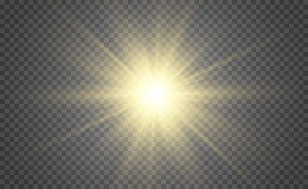 Specjalna lampa błyskowa, efekt świetlny. lampa błyskowa promienie i reflektor. illust.un jest podświetlany. jasna piękna gwiazda. światło słoneczne. blask.
