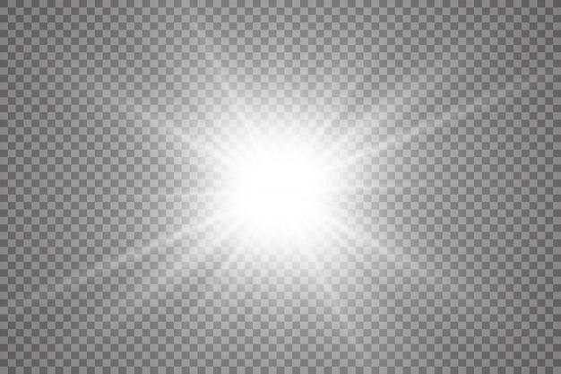 Specjalna lampa błyskowa, efekt świetlny. lampa błyskowa promienie i reflektor. ilust. białe świecące światło. piękna gwiazda światło z promieni. słońce jest podświetlone. jasna piękna gwiazda. światło słoneczne. blask.