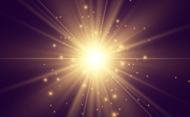 Specjalna lampa błyskowa, efekt świetlny. świecące promienie błyskowe.
