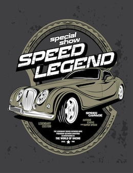 Specjalna legenda prędkości pokazu, super szybki klasyczny samochód