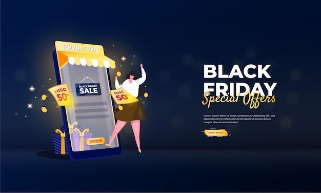 Specjalna oferta black friday dotycząca koncepcji promocji sklepu internetowego