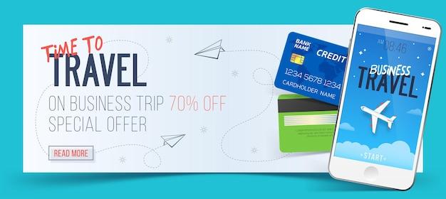 Specjalna oferta na podróże służbowe. baner podróży służbowej. smartfon i karty kredytowe. koncepcja podróży lotniczych. ilustracja podróży służbowych.