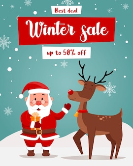 Specjalna oferta świąteczna wyprzedaż piękna ulotka rabatowa z mikołajem i jeleniem