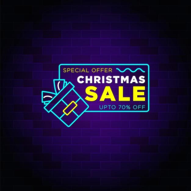 Specjalna oferta świąteczna wyprzedaż ze zniżką na baner - tekst neonu