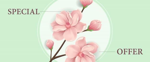 Specjalna oferta transparent z gałązki kwitnącej wiśni różowy w okrągłej ramie