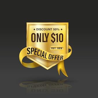 Specjalna oferta w stylu tarczy ze złotym sztandarem