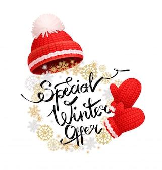 Specjalna oferta zimowa banner promocyjny red hat, rękawiczki
