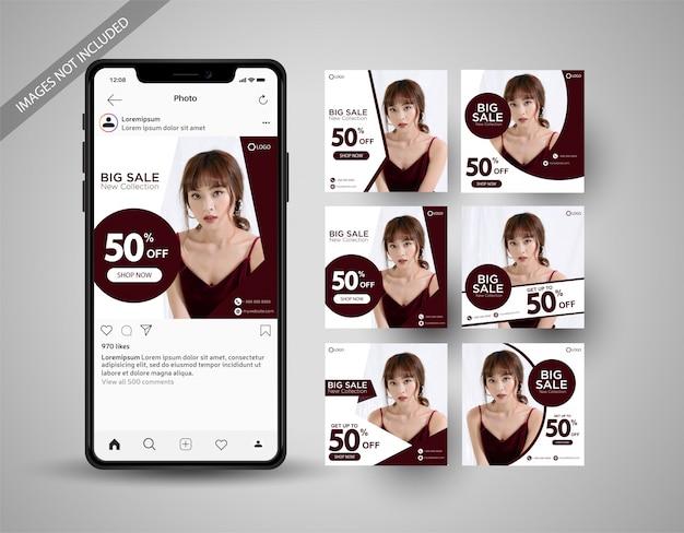 Specjalna sprzedaż mediów społecznościowych po kolekcji instagram