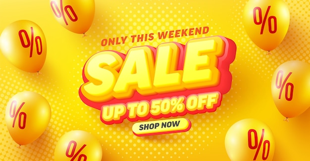 Specjalna wyprzedaż 50% zniżki na projekt plakatu lub ulotki dla handlu detalicznego, zakupów lub promocji w żółto-czerwonym stylu
