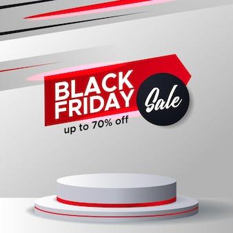 Specjalna zniżka promocyjna oferta sprzedaży w czarny piątek baner elegancki szablon reklamowy z wyświetlaczem na cokole podium