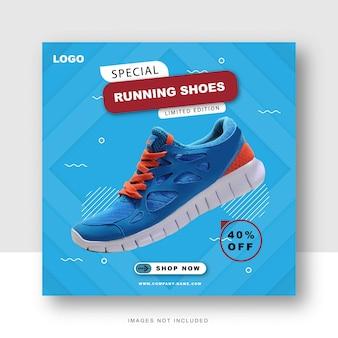 Specjalne buty w mediach społecznościowych i szablon postu na instagramie