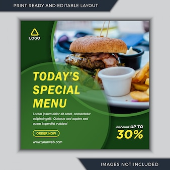 Specjalne menu kulinarne szablony mediów społecznościowych