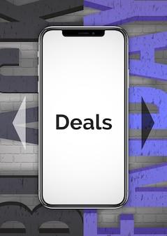 Specjalne oferty na smartfony realistyczny szablon banera. telefon komórkowy z pustym ekranem 3d. okazja na czarny piątek. rabaty na układ plakatu reklamowego urządzeń przenośnych