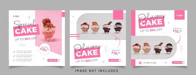 Specjalny baner na ciasto do postu szablonu mediów społecznościowych