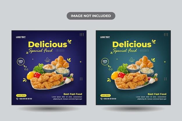 Specjalny baner w mediach społecznościowych z jedzeniem