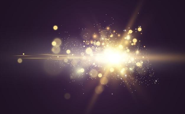 Specjalny Efekt Błysku Obiektywu Lampa Błyskowa Emituje Promienie, A Szperacz Ilustruje Białe świecące światło Premium Wektorów