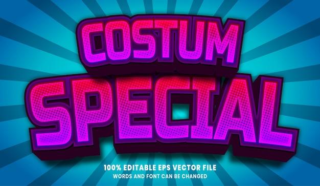 Specjalny efekt edytowalnego stylu tekstu 3d costum
