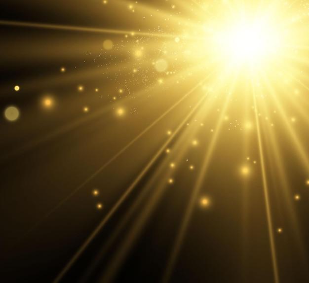 Specjalny Efekt Lampy Błyskowej Obiektywu Lampa Błyskowa Emituje Promienie, A Reflektor Ilustruje Białe świecące światło Premium Wektorów