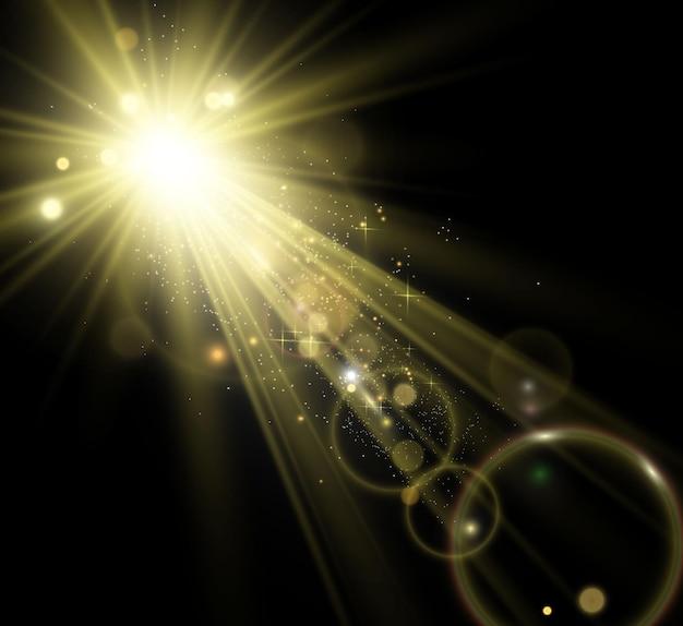 Specjalny efekt lampy błyskowej obiektywu lampa błyskowa emituje promienie, a reflektor ilustruje białe świecące światło