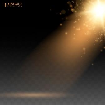 Specjalny efekt lampy błyskowej w świetle słonecznym. złoty reflektor na białym tle. żółte ciepłe światła. ilustracji wektorowych.