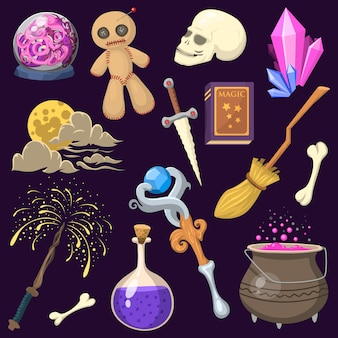 Specjalny efekt magiczny sztuczka symbol różdżka magik i niespodzianka rozrywka fantasy karnawałowe tajemnice narzędzia kreskówka cud dekoracje.