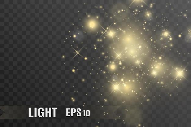 Specjalny efekt świetlny błyszczą białe iskry i złote gwiazdy