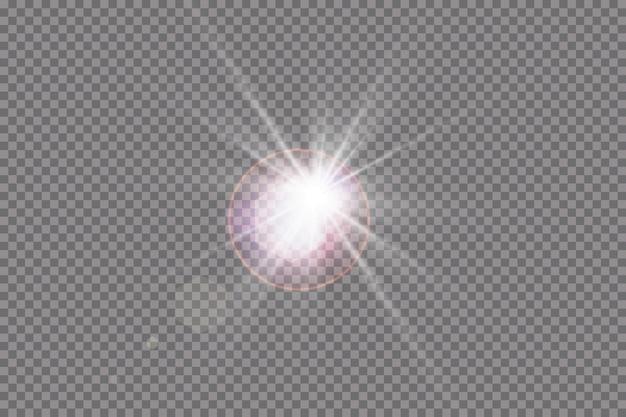 Specjalny efekt świetlny flary obiektywu. błysk słońca z promieniami i światłem punktowym.