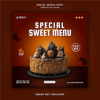 Specjalny post w mediach społecznościowych sweet menu