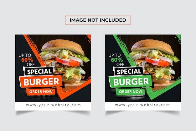 Specjalny projekt postu w mediach społecznościowych burger