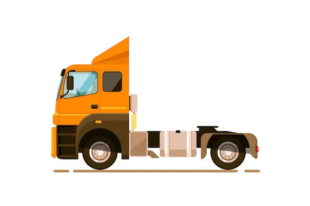 Specjalny samochód transportowy. naczepa ciężarówka samochód ciężarowy na białym tle. ilustracja wektorowa specjalnego transportu towarowego