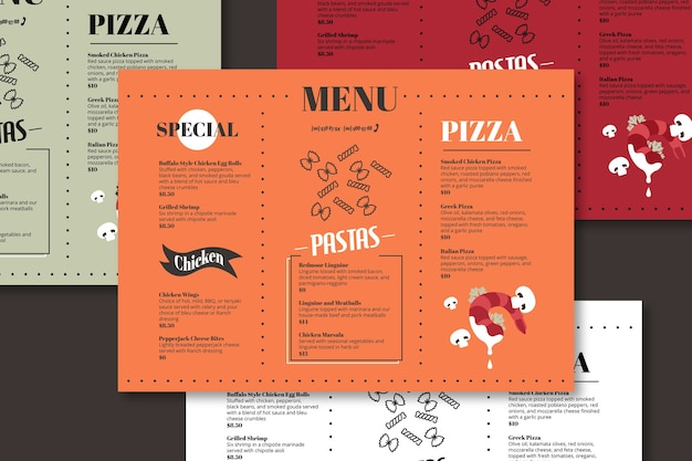 Specjalny szablon menu pizzy i makaronu