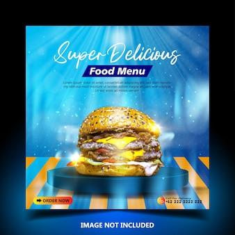 Specjalny szablon postu banerowego w mediach społecznościowych pysznego burgera