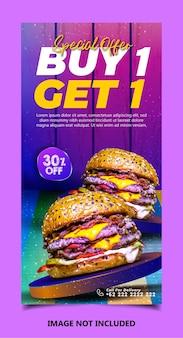 Specjalny szablon postu banerowego w mediach społecznościowych z pysznym burgerem