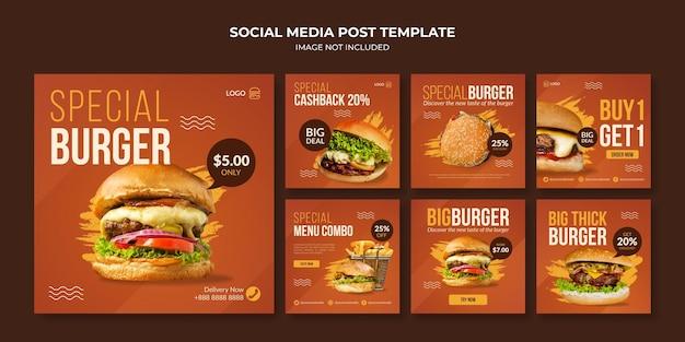 Specjalny szablon postu na instagramie w mediach społecznościowych burger