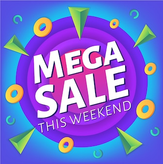 Specjalny weekendowy baner reklamowy lub plakat mega sprzedaży, szablon plakatu z kolorowymi abstrakcyjnymi elementami płynnymi